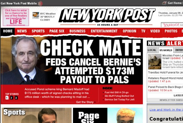 bernard madoff sur le new york post